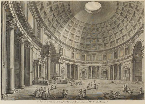 Пиранези (Piranesi) Франческо (1758/59-1810) «Внутренний вид Пантеона». Изсерии «Vedute diRome». 1778 (оттиск, повсей вероятности, первой четверти XIXвека). Бумага, офорт, 46x47см (оттиск).