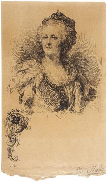 Матэ Василий Васильевич (1856–1917) «Императрица Екатерина II». 1890-1911. Бумага, офорт, 14,5×8,8см (лист).