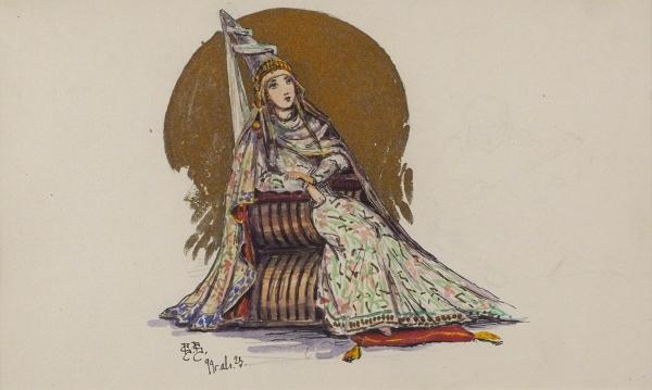 Владимиров Василий Васильевич (1880–1931) «Царевна». 1899. Бумага, смешанная техника, 12,5×21см (всвету).
