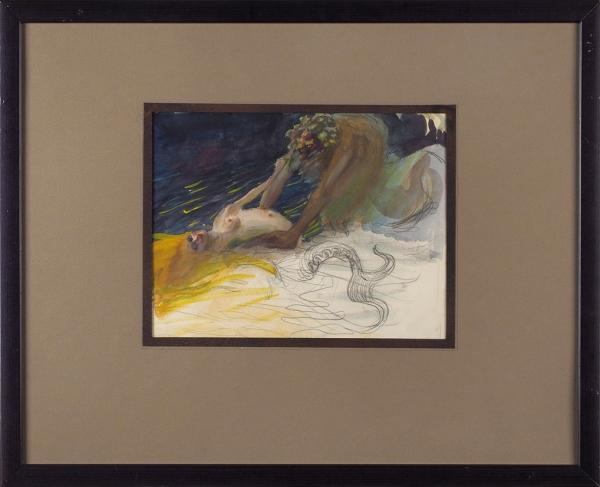 Владимиров Василий Васильевич (1880–1931) «Водяной». Начало ХХвека. Бумага, графитный карандаш, акварель, 20×26см (всвету).