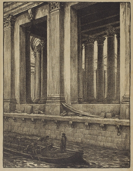 Лансере Евгений Евгеньевич (1875–1946) «Колонны Казанского Собора». 1901. Бумага, литография, 29x22см (лист).