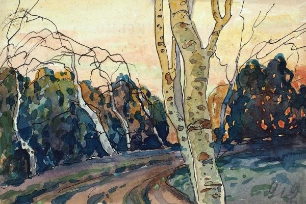 Иванов Сергей Иванович (1885–1942) «Два дерева». 1922. Бумага (почтовая карточка), сепия, перо, акварель, 9,3x13,7см.