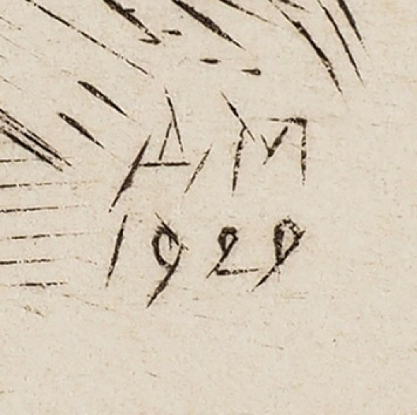Митрохин Дмитрий Исидорович (1883–1973) «Настройке». 1929. Бумага, офорт, 22×25,5см (лист), 11,4×13,6см (оттиск).