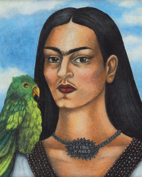 Кало (Kahlo) Фрида (1907-1954) «Автопортрет спопугаем». 1940-е. Бумага, смешанная техника, 24x19см (всвету).