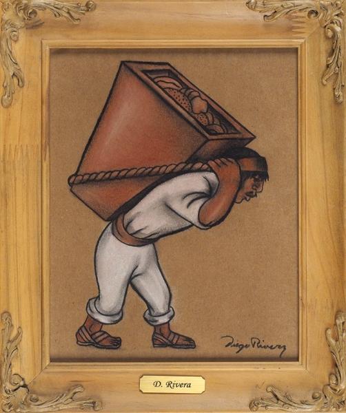 Ривера (Rivera) Диего (1886-1957) «Мужчина, несущий корзину». 1940-е. Бумага, смешанная техника, 24,5x19,5см (всвету).