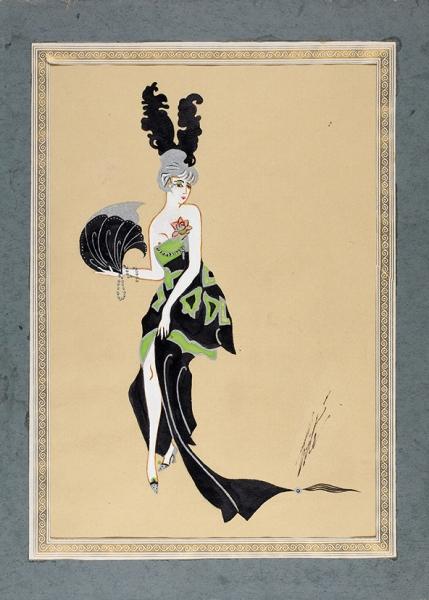 Эрте (Тыртов) Роман Петрович (1892–1990) Эскиз женского костюма. 1940-е-1950-е. Бумага, смешанная техника, 26x18см (всвету).