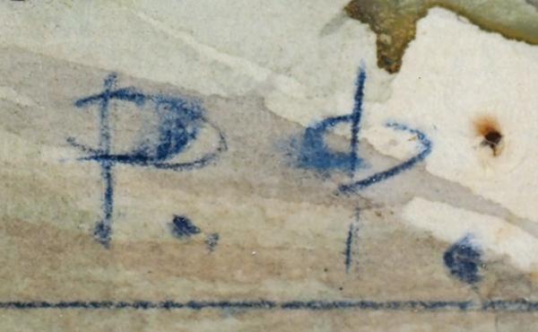 Фальк Роберт Рафаилович (1886–1958) «Дорога вХотьково». Первая половина 1950-х. Бумага, перо, тушь, гуашь, 26×49,8см.