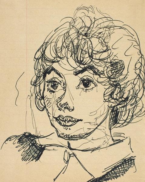 Зверев Анатолий Тимофеевич (1931— 1986) «Портрет девушки сбольшими глазами». 1962. Бумага, чернила, перо, 20,3×16,3см.