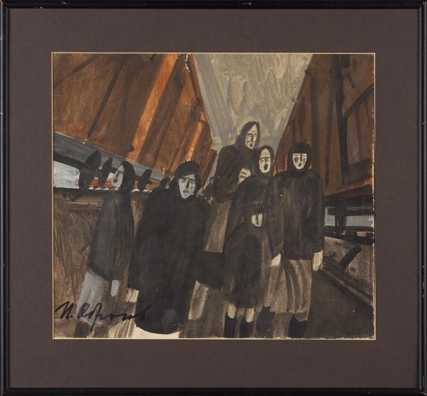 Обросов Игорь Павлович (1930— 2010) «Провожая эшелоны». 1976. Бумага, темпера, 27,8×31,3см.