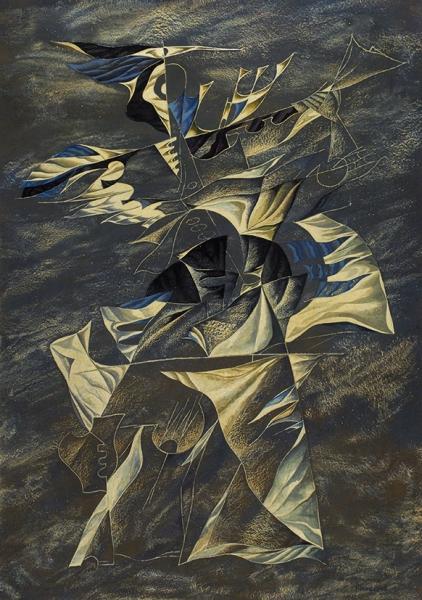 Никифоров Павел Иванович (1941–1993) «Скрипичная импровизация». 1982. Оргалит, масло, 67×47,5см.