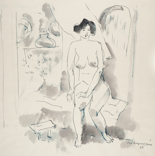 Бирштейн Макс Авадьевич (1914–2000) «Сидящая обнаженная». 1985. Бумага, тушь, перо, акварель, 42×42см.