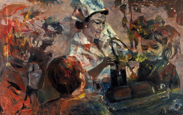 ДУРЕНЬ (Алексей Петров) (1972–2017) «Кислородный коктэйль». Начало 2000-х. Холст, масло, 47×74,5см.