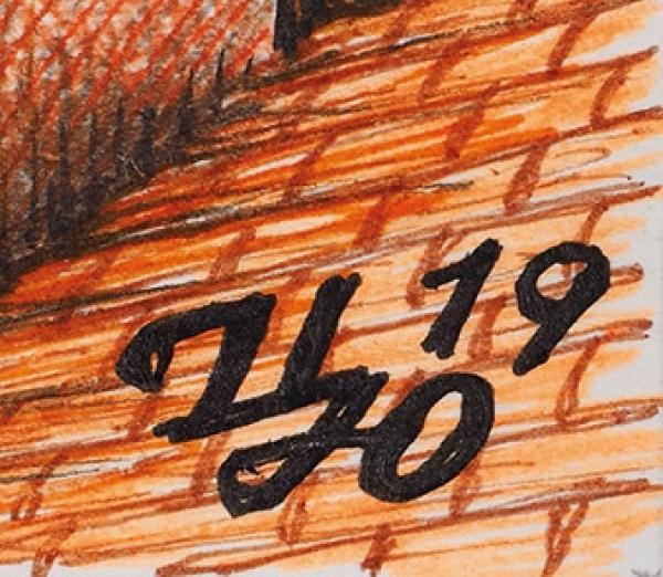 Царевский Юрий Витальевич (род.1968) «Санта Мария-дель-Фиоре». 2019. Бумага, линеры, 54x52см.