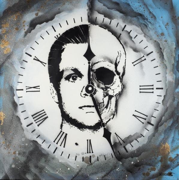 Николай N888К Николаев «Your Time (Двенадцать двадцать семь)». 2019. Холст, трафарет, аэрозольная краска. 80×80см.