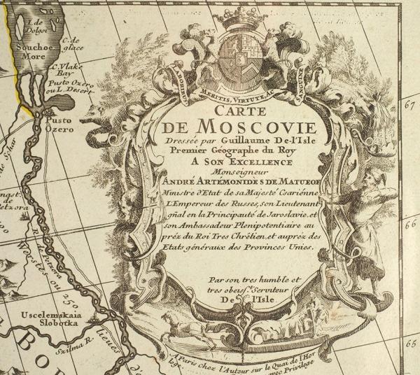 Карта Московии, составленная первым географом французского короля Гийомом Делилем позаказу сподвижника Петра Первого А. Матвеева в1706году. [Северная часть]. Париж, 1780.