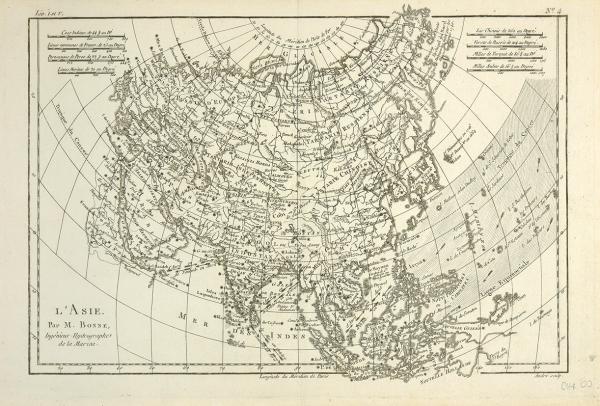 Карта Евразии/ составил M.Bonne; гравировал Andre. [L'Asie./ Par M/Bonne, Ingenieur Hydrographe delaMarine. Нафр.яз.]. Париж, сер. XIXв.