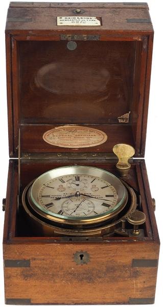 [«Напрасно нас бури пугали, вам скажет любой моряк...»] Морской хронометр ссекундомером работы британской фирмы «Reid &sons». [Ньюкасл-апон-Тайн, последняя четверь XIXв.].