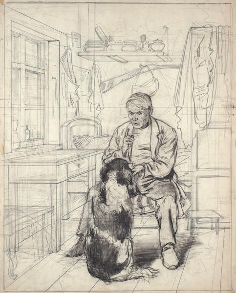 Маковский Владимир Егорович (1846–1920) «Дрессировка собаки». Наобороте набросок мужского портрета. 1860-е— 1870-е. Бумага, графитный иитальянский карандаши, 62,5×50см.