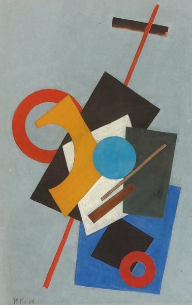 Клюн Иван Васильевич (1873–1943) «Многоцветная супрематическая композиция». Конец 1910-х-начало 1920-х. Картон, гуашь, 55×35см.