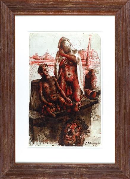 Челищев Павел Фёдорович (1898–1957) «Явление». Эскиз ккартине.1937. Бумага, сепия, кисть, перо, красные чернила, 50,8×32,4см.