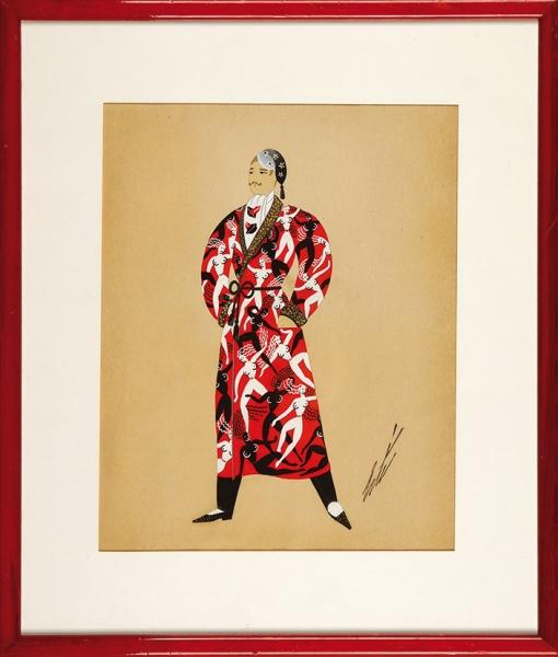 Эрте (Тыртов) Роман Петрович (1892–1990) «Муж». Эскиз костюма. 1930-е-1940-е. Бумага, тушь, перо, кисть, гуашь, золотая краска, 35×22см.