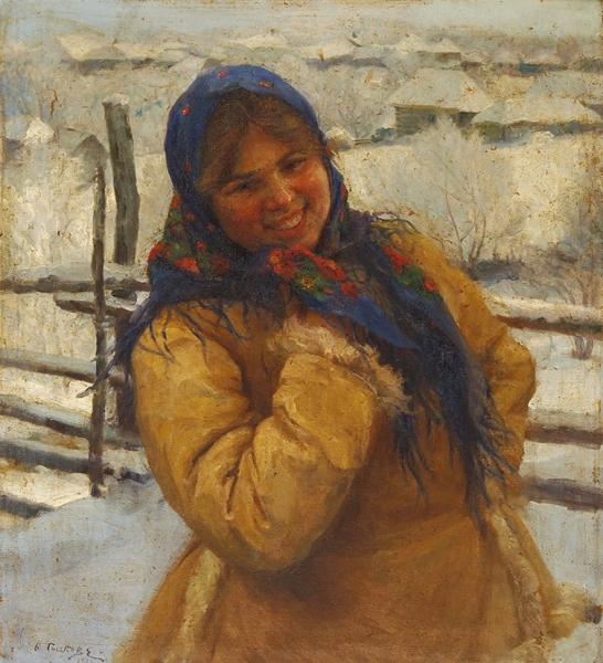 Сычков Федот Васильевич (1870–1958) «Девушка всинем платке». 1930-е-1940-е. Холст, масло, 60×51,3см.
