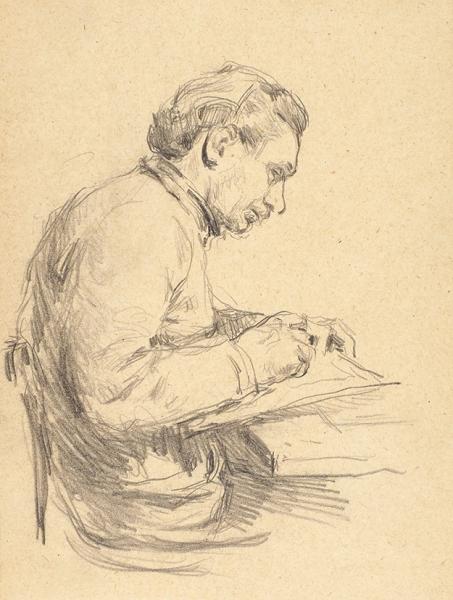 Манухин Ярослав Николаевич (род.1925) «Портет художника Васи Ситникова». 1960-е. Бумага, карандаш, 14×11см.