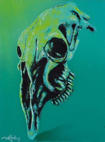 Кирилл Joke. «Зеленый» изсерии «Черепа». 2019. Холст, акрил, флюоресцентное покрытие, 60×80см.