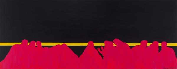 Ленин (Носальский) Владимир. «IlCenacolo _numero 1». 2018. Холст, галерейный планшет, акрил. 150×60см.