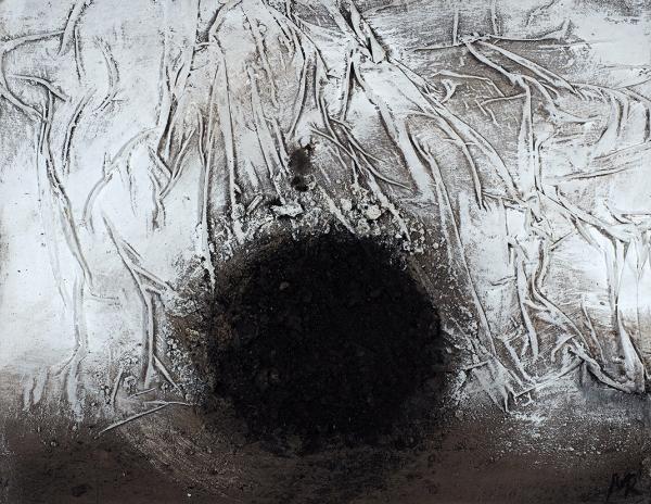 Рошняк Михаил. «Точка». 2019. Оргалит, авторская техника (земля). 50×65см.