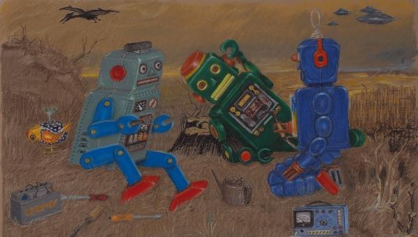 Стрелков Андрей. «Роботы напривале». 2016. Тонированная бумага, масляная пастель.37,2×65см.