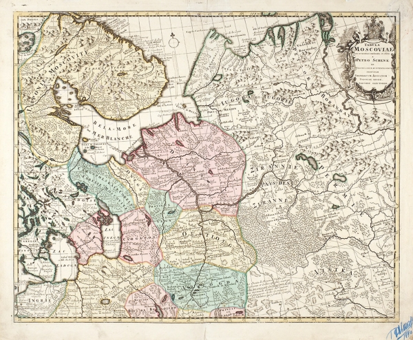 Карта Московии/ карт. П.Шенк. [Tabula Moscoviae nunc accuratius concinnata etedita aPetro Schenk]. Амстердам, 1710.