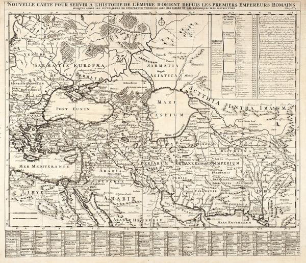 Карта распространения Римской Империи наВостоке. [Nouvelle carte pour servir al'histoire deL'Empire d'orient depuis les premiers empereurs romains]. Амстердам, 1719.