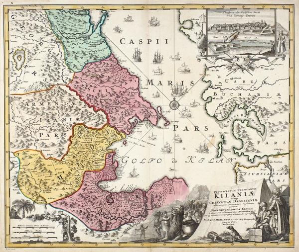 Карта акватории Каспийского моря, атакже сопредельных территорий/ карт. Иоганн Баптист Гоманн. [Provinciarum Persicarum Kilaniae]. Нюрнберг, 1720.