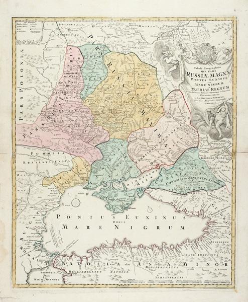 Карта Черного моря иКрыма/ карт. Иоганн Баптист Гоманн. [Tabula geographica qua pars Russiae magnae Pontus Euxinus seu mare Nigrum etTauriae region]. Нюрнберг, 1720.