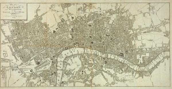 [Город времен Байрона] Гравированный план Лондона иВестминстера. Веймар: Verlag des Geograph. Institute, 1809.