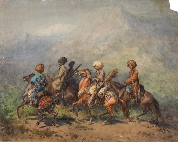 Филиппов Константин Николаевич (1830–1878) «Всадники». Третья четверть XIXвека. Бумага, акварель, 44,5×56см.