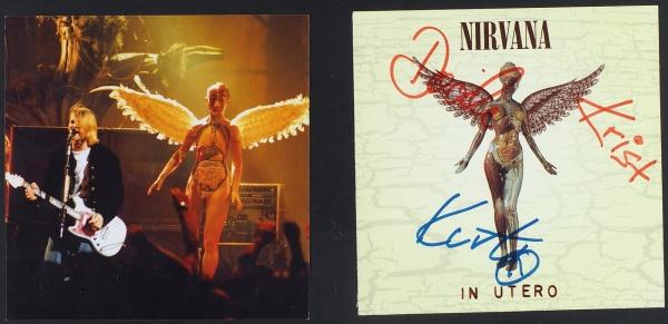[Последний студийный альбом «Нирваны» савтографом Курта Кобейна] Лот издвух частей обложки альбома «InUtero», выпущенного группой «Nirvana»/ дизайн обл. Р.Фишер. [США, 1993].