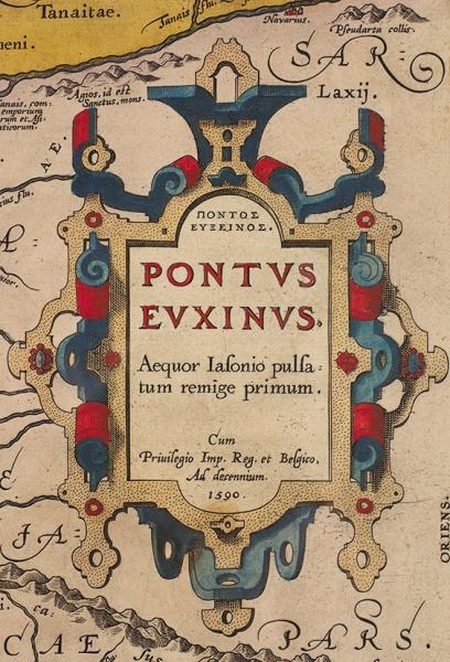 Карта Черного моря (Понт Эвксинский), Северного Причерноморья иКрыма/ карт. А.Ортелиус. [Pontus Euxinus. Aequor Iasonio pulsatum remgie primum]. Антверпен, 1590.