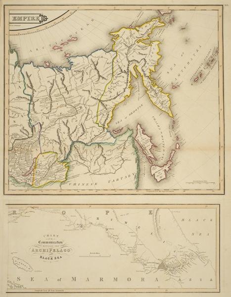 Двухчастная карта Российской Империи. [Russian Empire. Chart ogthe communication between the Archipelago and Black Sea]. [Эдинбург: Джон Гамильтон, 1831].