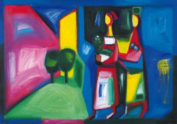 [Его иллюстрации украсили более 150книг...] Аджинджал Ахра. «Прогулка». 2013. Картон, акрил. 100×70см.
