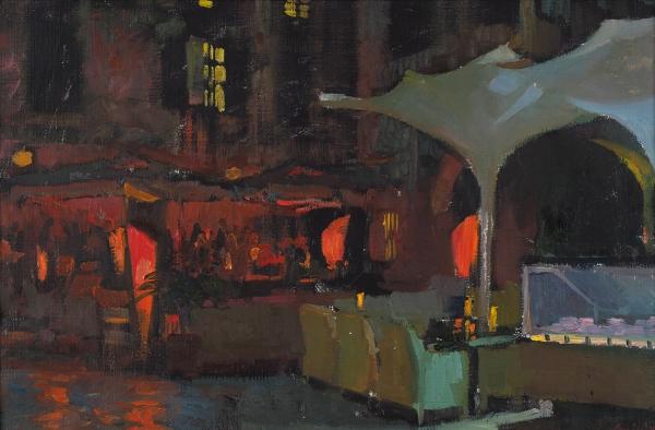 Аникин Василий. «Ночь, улица, кафе». 2012. Холст, масло. 40×60см.