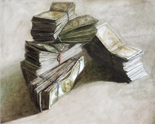 Бломериус Ингеборга. «Деньги». 2019. Холст, масло. 40×50см.