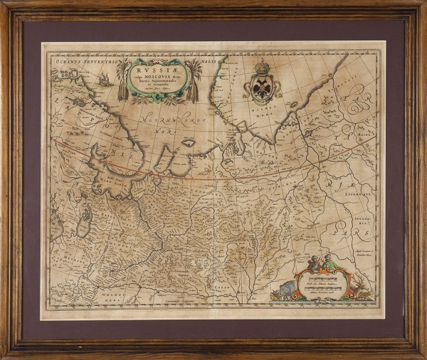 Карта Северо-восточной части Московии/ карт. Исаак Масса. [Rissiae vulgo Moscoviae dictae partes septentrionalis etorientalis]. [Амстердам: Изд. Иоганн иКорнелис Блау, 1638-1647].