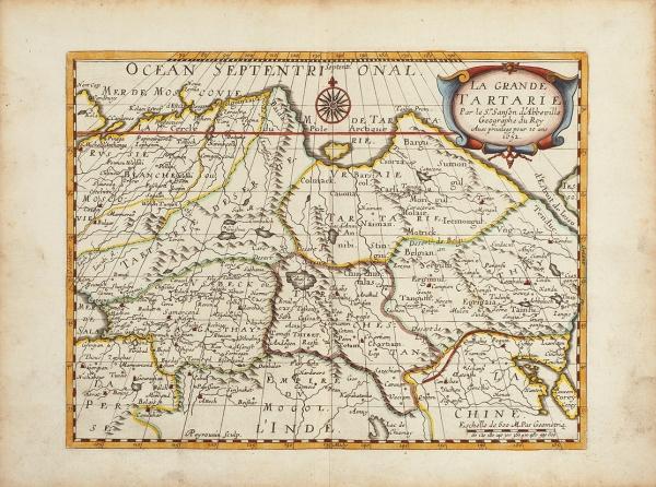Карта: Великая Тартария/ картограф Н.Сансон. [LaGrande Tartarie/ par leSrSanson d'Abbeville Geographe duRoy, avec privilege pour 20ans 1652]. [Париж, сер. XVIIв.].