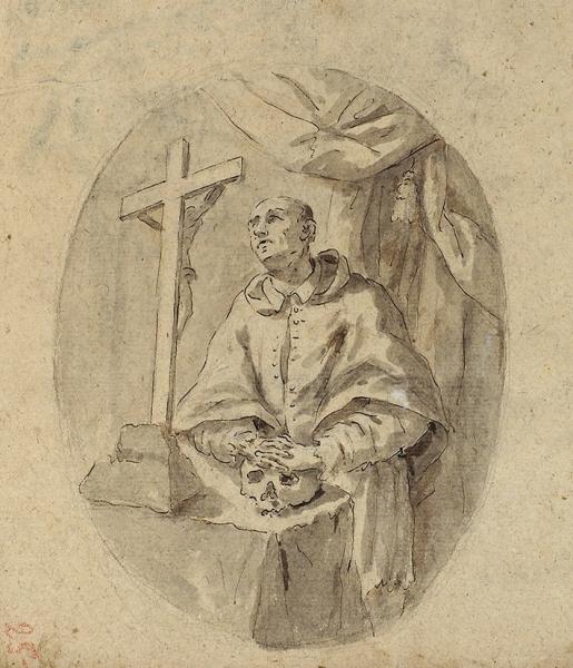 Неизвестный русский художник «Христос перед Понтием Пилатом». Наобороте «Монах перед распятием». 1790-е. Бумага, тушь, перо, кисть, 24,3×44см.