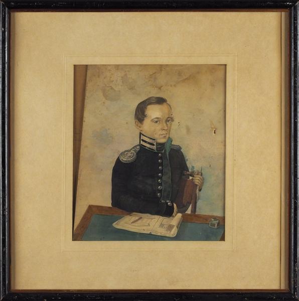 Неизвестный художник «Мужской портрет». 1841. Бумага, акварель, 22,8×19,8см.