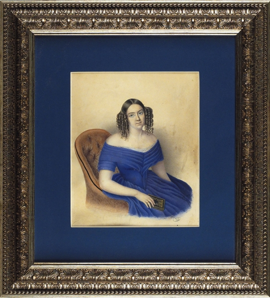 Фидлер (Fiedler) «Портрет девушки скнигой». 1844. Бристольский картон, гуашь, 25×20,5см.
