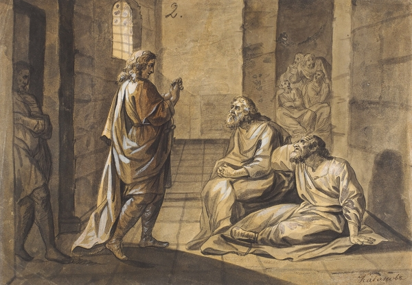 Кабанов Иван Андреевич (1823–1869) «Втемнице». Середина XIXвека. Бумага, акварель, белила,20,5×29см.
