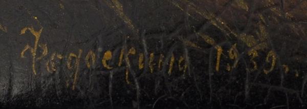 Шкатулка «Гармонист». СССР, Федоскино.1939. Папье-маше, роспись. Размер 22×12×7,5см.